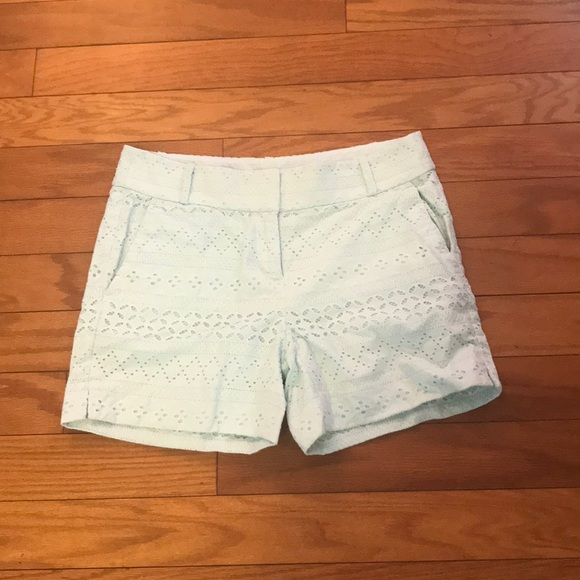 LOFT Pants - LOFT Embroidered Mint Green Shorts